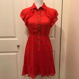 NANETTE LEPORE Button Front Ruffle Dress